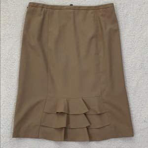 Talbots Tan Wool Below Knee Side Zip Skirt  Sz 10